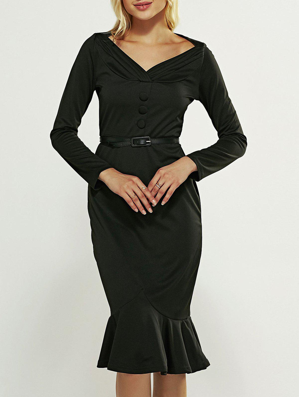 Midi Long Sleeve Mermaid Vintage Prom Dress - BLACK 3XL
