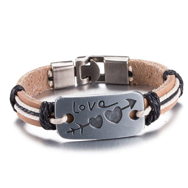 Faux Leather Love Engraved Heart Arrow Bracelet