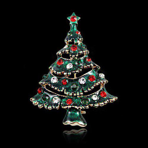 Sweet Cut Out Rhinestone Enamel Multicolored Christmas Tree Brooch - BLACKISH GREEN
