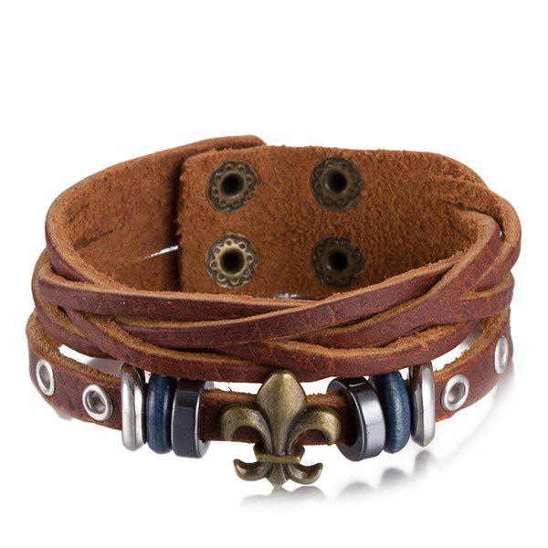 Faux Leather Circles Alloy Bracelet - COFFEE