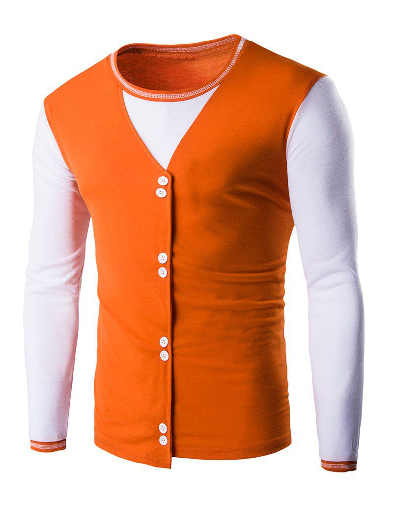 Buttons Design Casual Long Sleeves T-Shirt - ORANGE 2XL