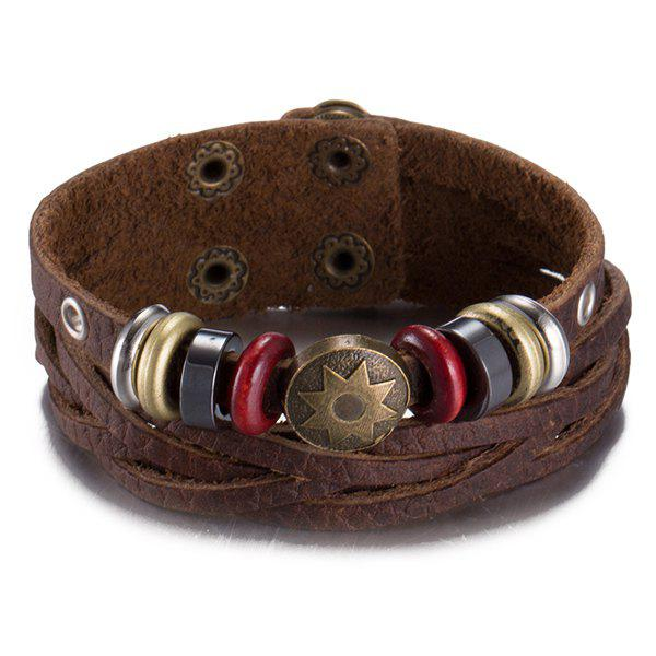 Faux Leather Star Alloy Geometric Circles Bracelet - BROWN