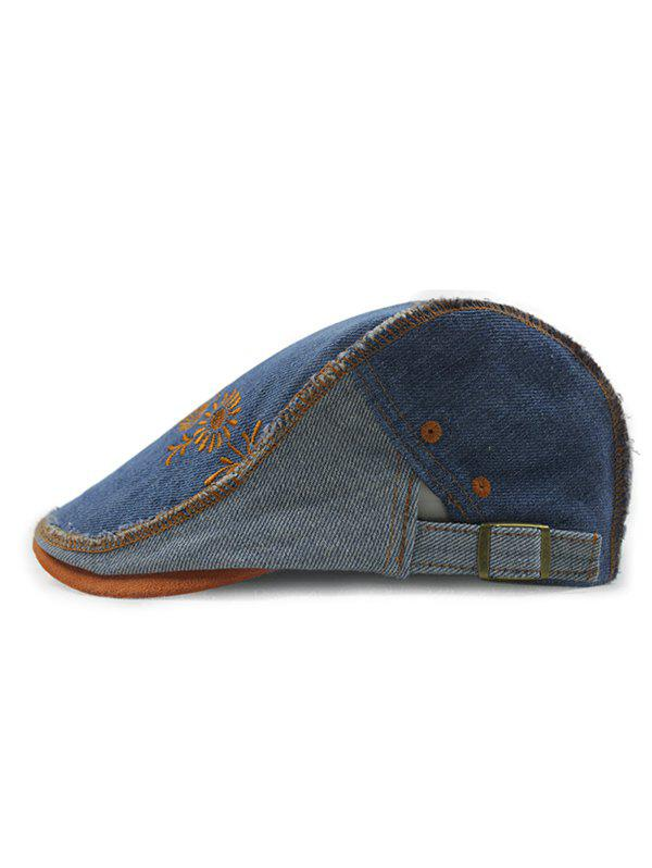 Summer Outdoor Sunflower Embroidery Do Old Casual Denim Ivy Newsboy Cap - DEEP BLUE