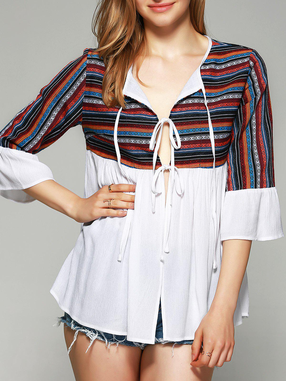 Ethnic Tie-Front Tribal Pattern Blouse - WHITE M