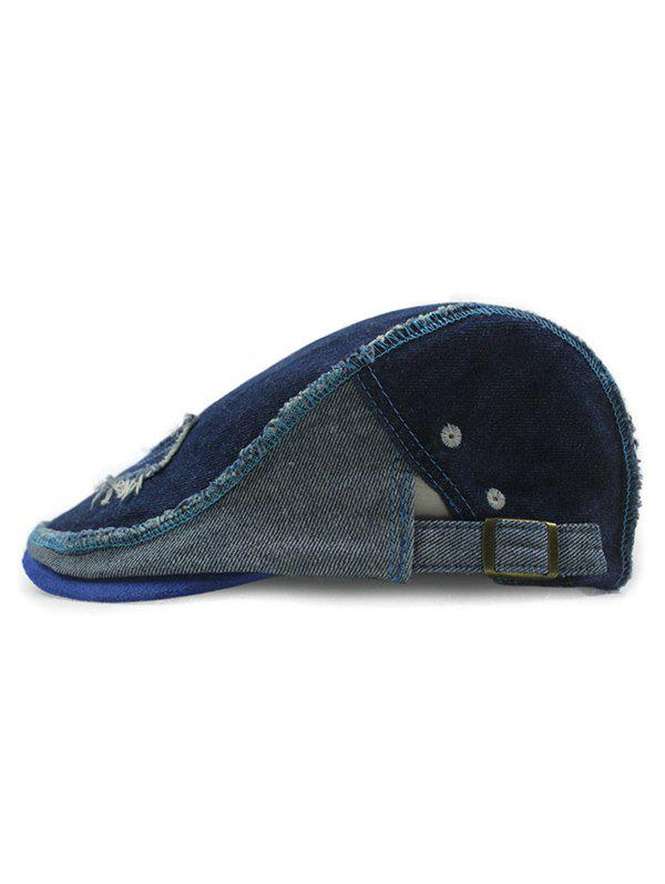 Summer Outdoor Rough Edge Applique Do Old Casual Denim Ivy Newsboy Cap - DEEP BLUE