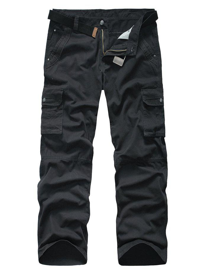 Snap Button Pocket Rivet Zipper Fly Cargo Pants - BLACK GREY 38