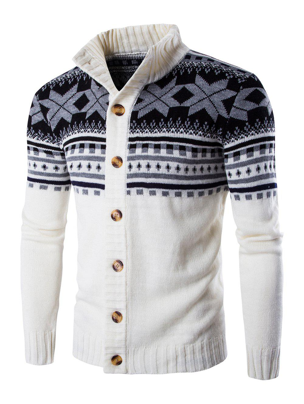 Long Sleeves Geometric Design Sweater Coat, WHITE, XL in Cardigans ...