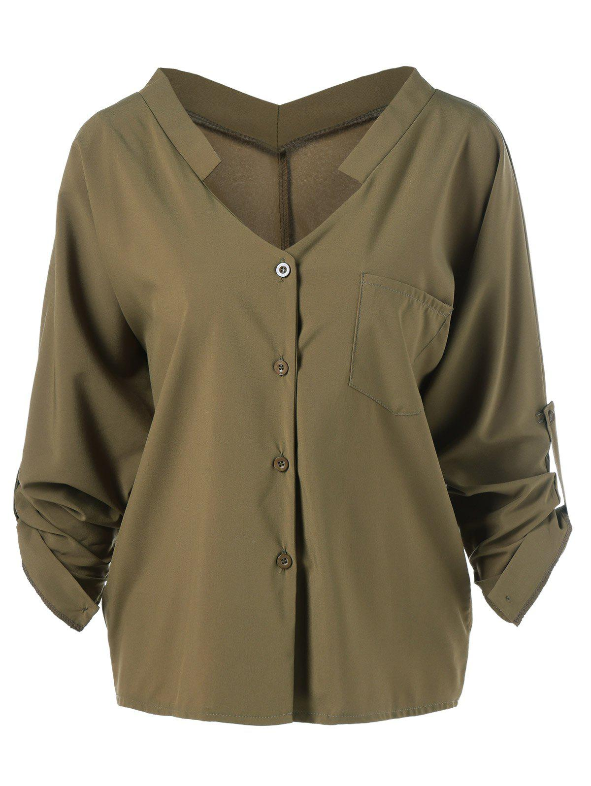 Long Sleeve V Neck Shirt - ARMY GREEN ONE SIZE