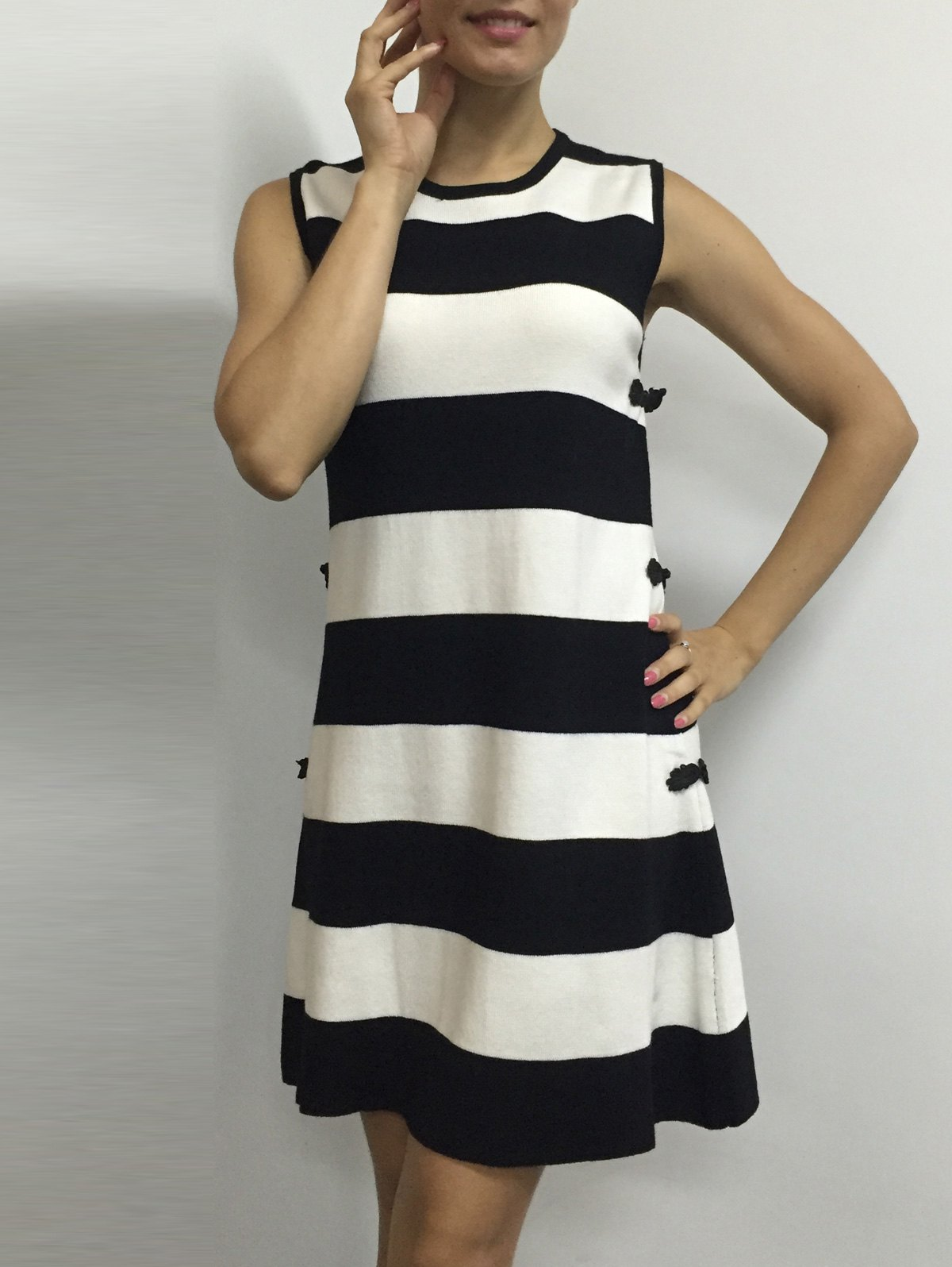 Color Block Stripe Sleeveless Side Button Knitted Dress - WHITE ONE SIZE