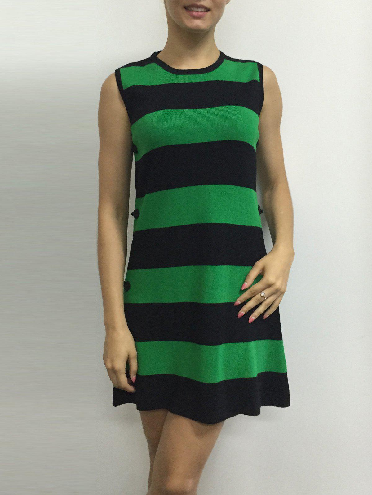 Color Block Stripe Sleeveless Side Button Knitted Dress - GREEN ONE SIZE