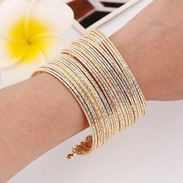 Gold Multilayer Iron Wire Cuff Bracelet - GOLDEN