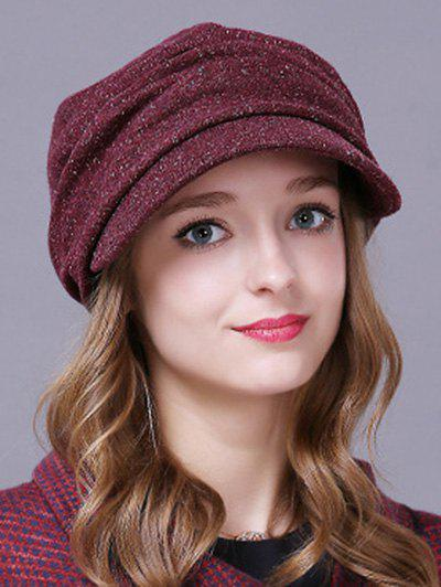 Winter Casual Pleated Relaxed Fit Newsboy Cap - CLARET