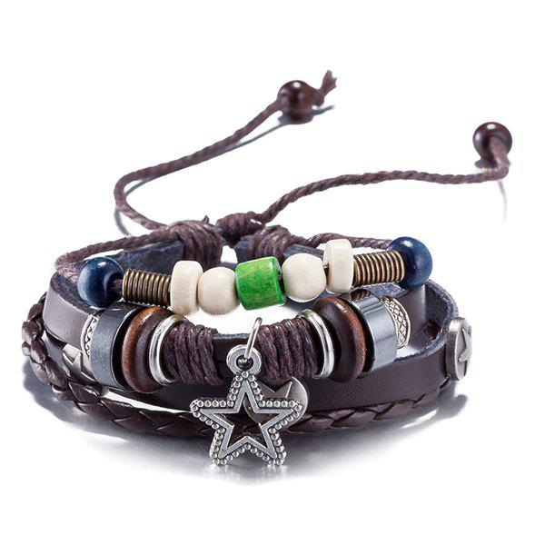 цены Faux Leather Rope Woven Star Beaded Bracelet