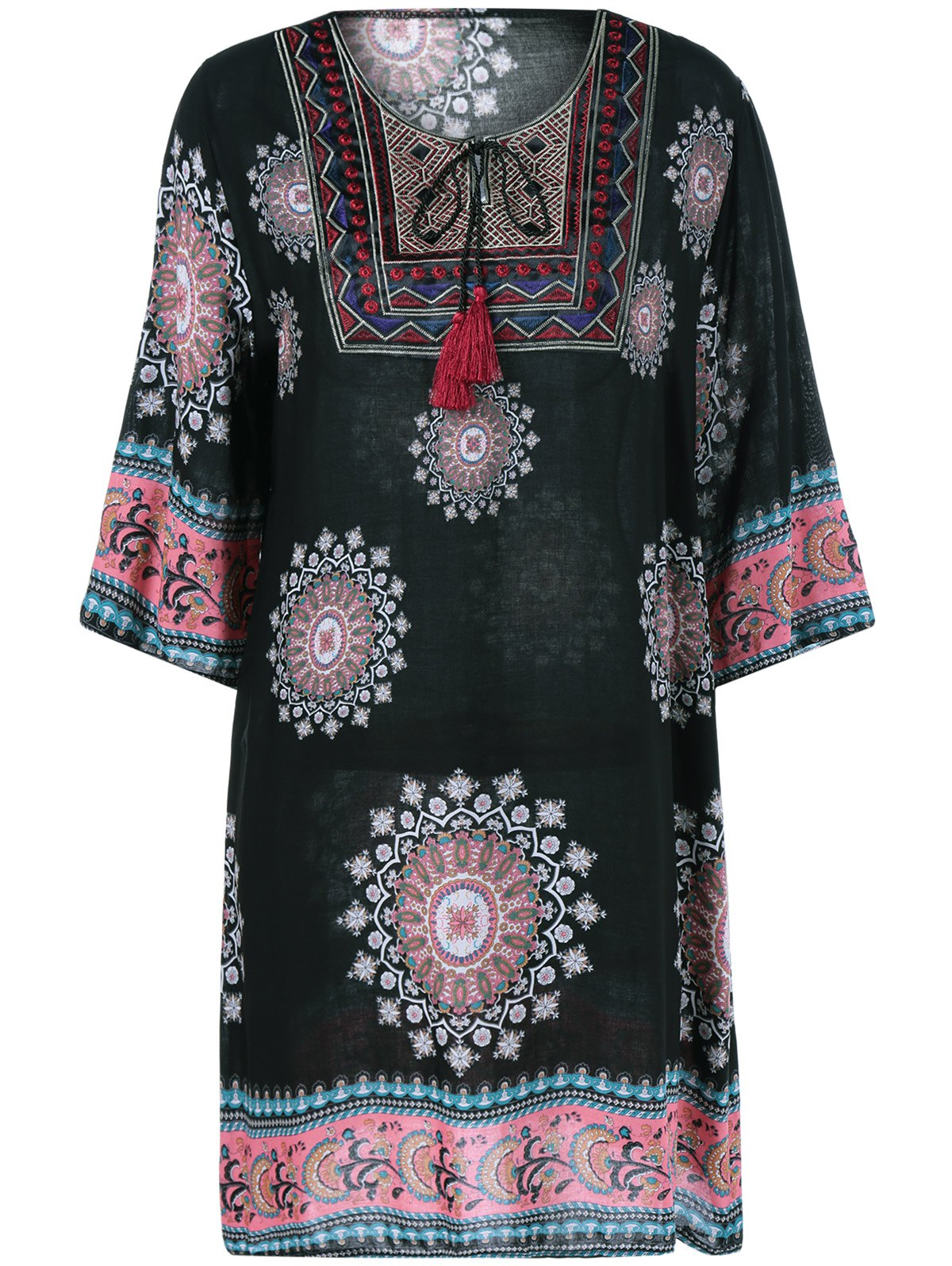 Ethnic Style Scoop Neck Loose Dress - BLACK ONE SIZE