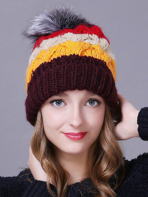Winter Casual Faux Fur Ball Striped Knitted Beanie