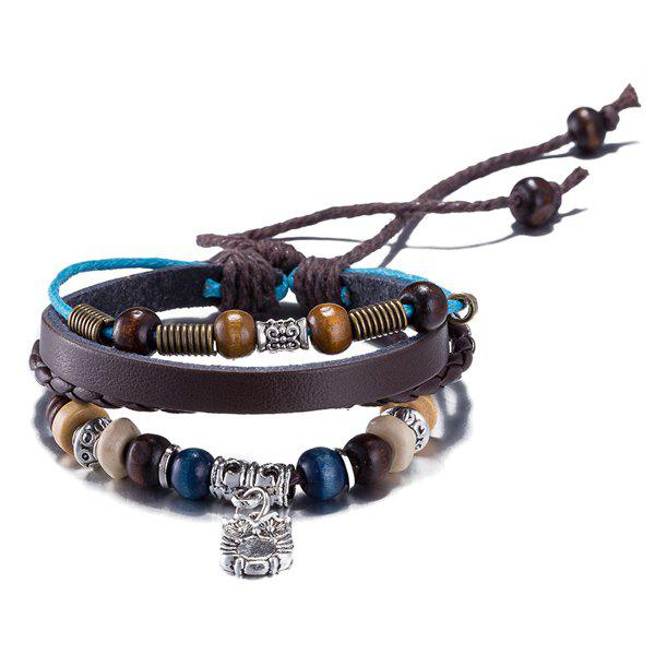 Faux Leather Woven Rope Beaded Engraved Owl Bracelet - BROWN
