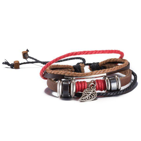 Faux Leather Woven Lucky Rope Leaf Bracelet