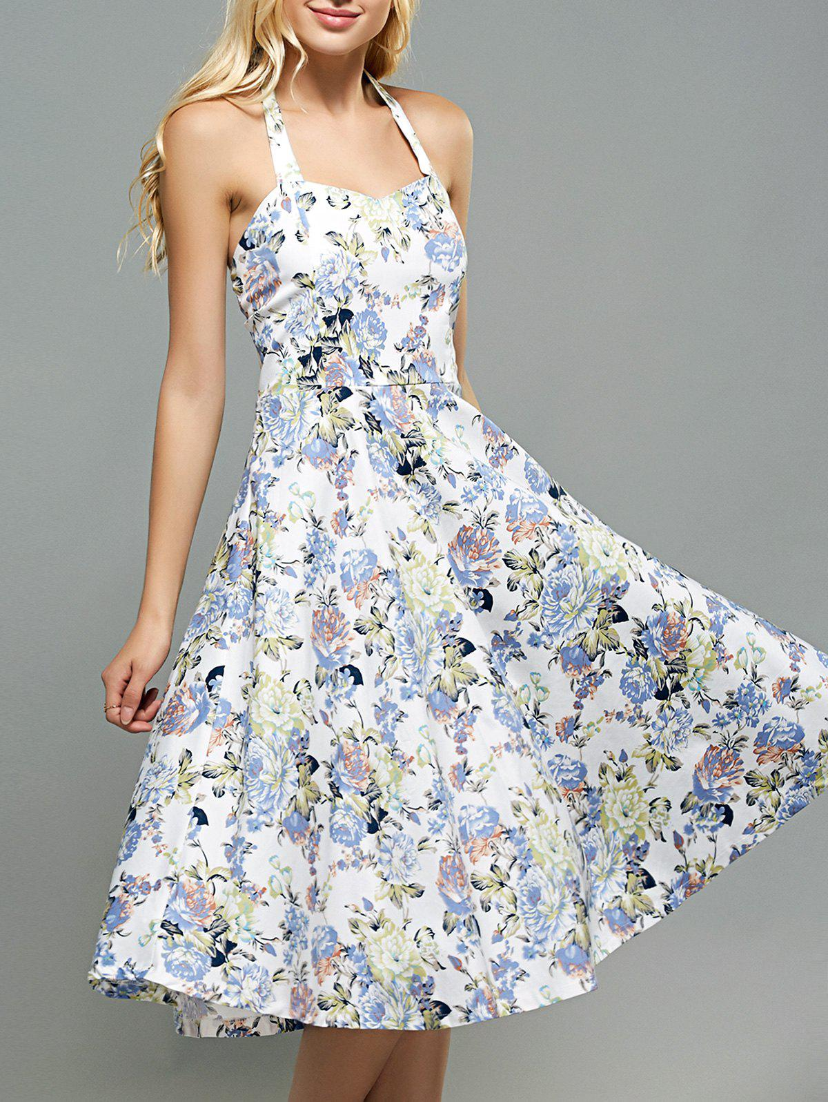 High-Waisted Halter Floral Print Slimming Dress - WHITE 2XL