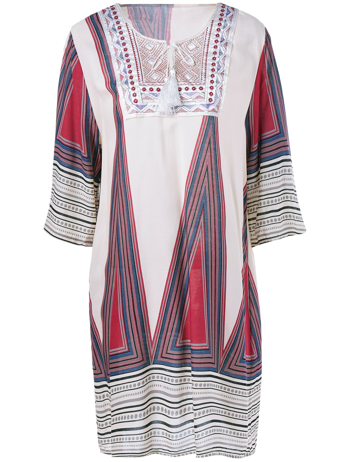 Ethnic Style Geometrical Print Loose Dress - BEIGE ONE SIZE