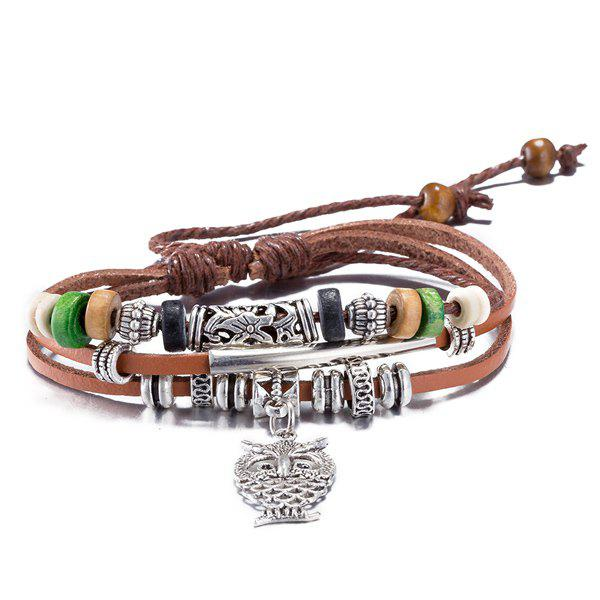 Faux Leather Engraved Rope Owl Charm Bracelet - BROWN