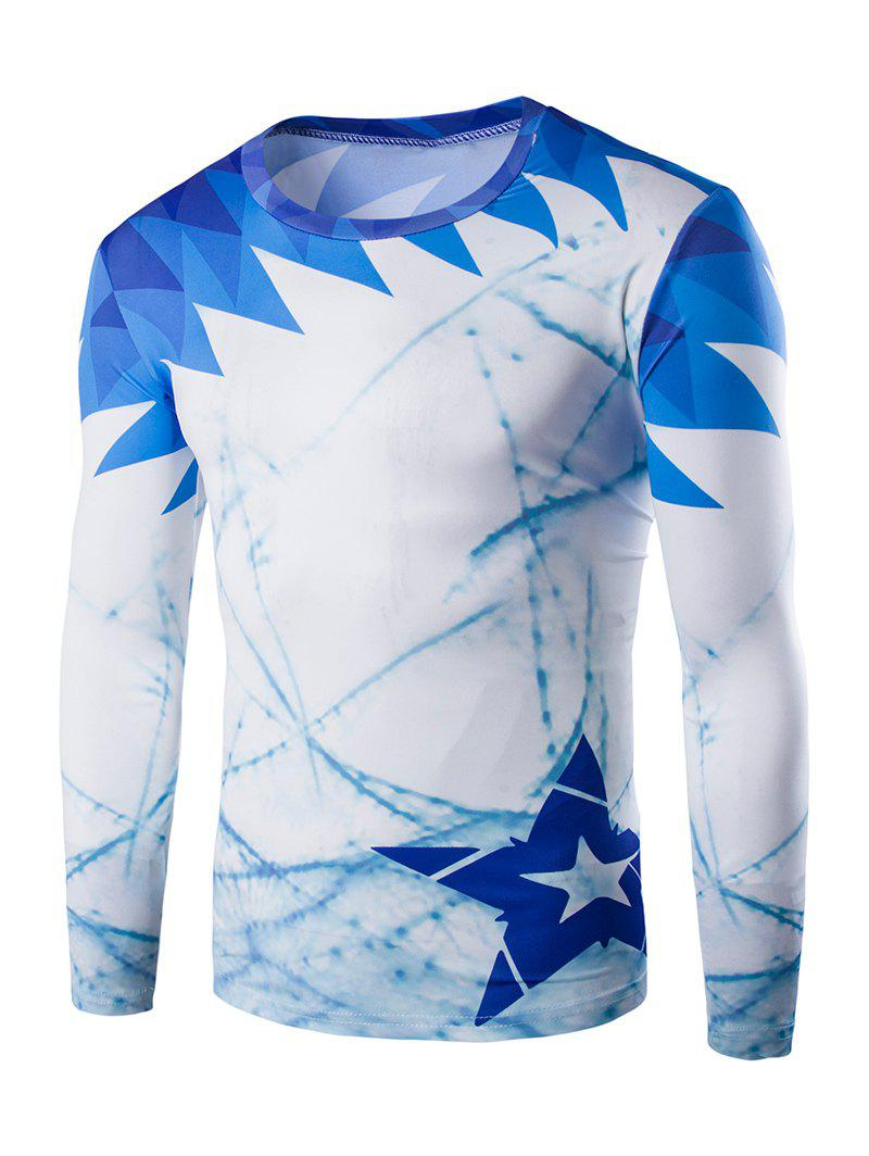 Round Neck Long Sleeves Slim Fit T-Shirt - BLUE 2XL