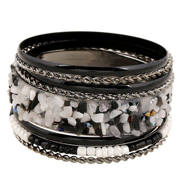 Detachable Bead Gravel Embellished Multilayer Bracelet - BLACK