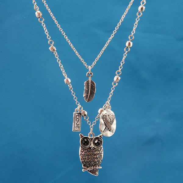 Rhinestone Engraved Love Wings Owl Leaf Necklace - SILVER