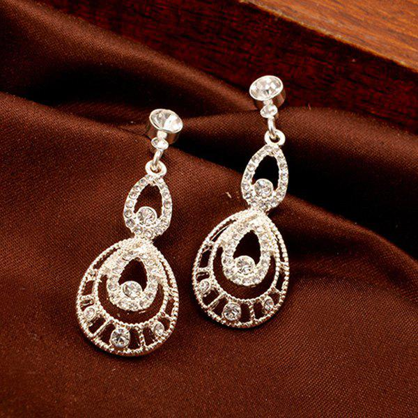 Pair of Rhinestoned Water Drop Wedding Earrings Jewelry - SILVER