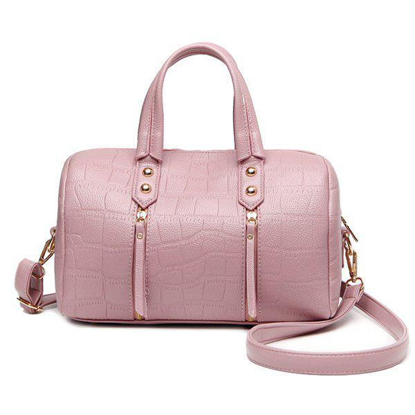 Embossing Zippers Metal Tote Bag -  LIGHT PINK
