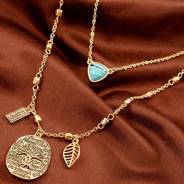 Faux Turquoise Engraved Life Tree Leaf Hope Necklace - GOLDEN