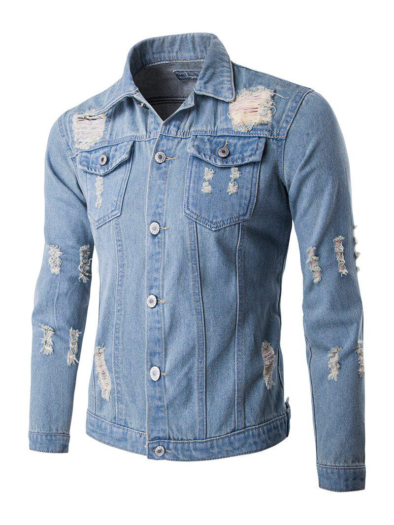 Mid-Wash Frayed Design Denim Jacket - LIGHT BLUE 2XL