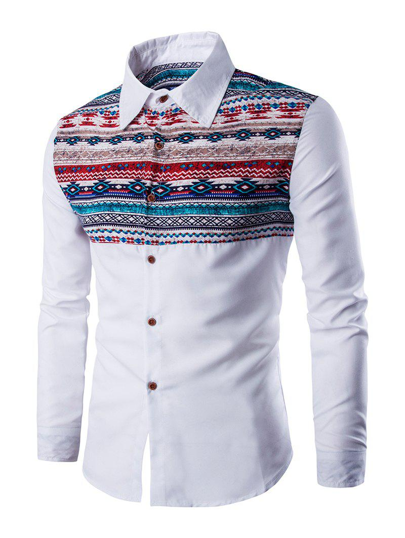 Casual Geometric Print Long Sleeves Shirt - WHITE 2XL