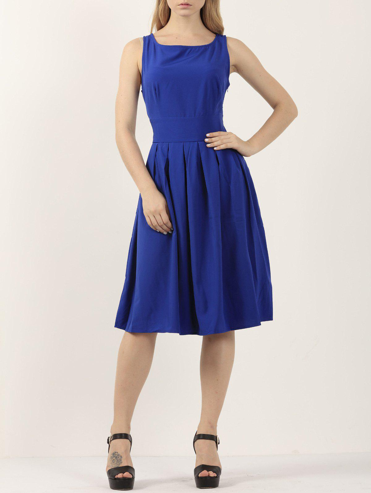 Casual Pleated Sleeveless A Line Dress - SAPPHIRE BLUE S