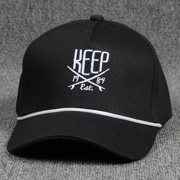 Hip Hop Drawstring Decorated Letter and Sabre Embroidery Baseball Hat - BLACK