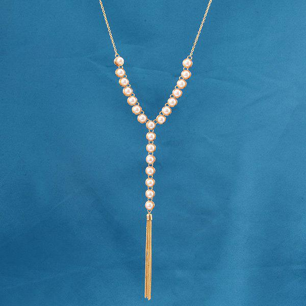 Faux Pearl Pendant Beaded Sweater Chain - GOLDEN