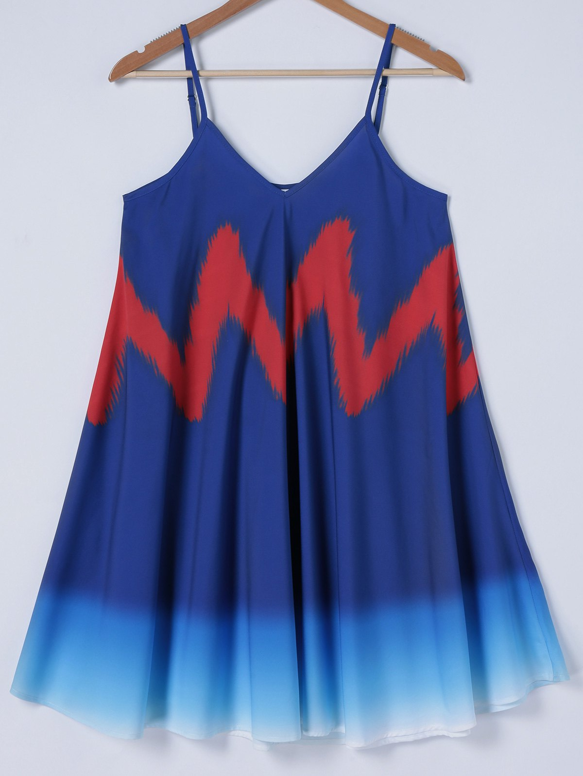 Tie-Dye Ombre Pleated Summer Dress - BLUE/RED XL