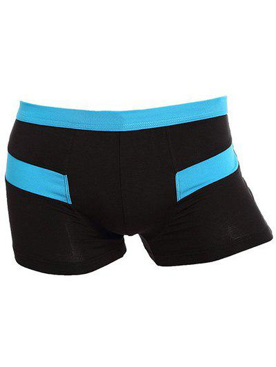 U Convex Pouch Design Color Block Boxer Brief - BLUE 3XL
