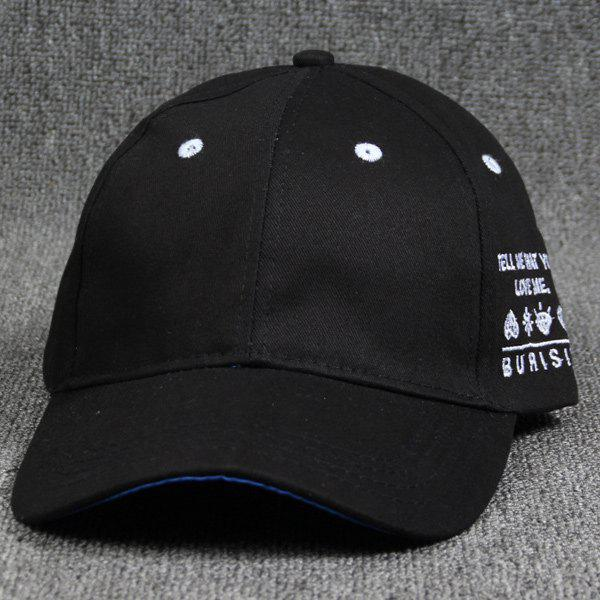 Summer Letter Embroidery Curve Brim Baseball Hat - BLACK