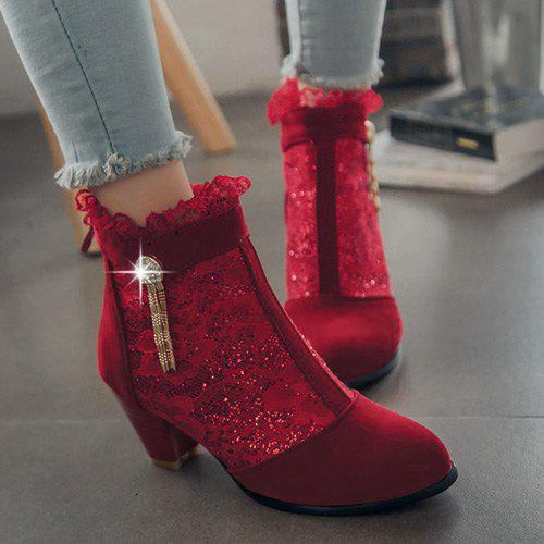 Trendy Lace and Chunky Heel Design Women's Ankle Boots - RED 39
