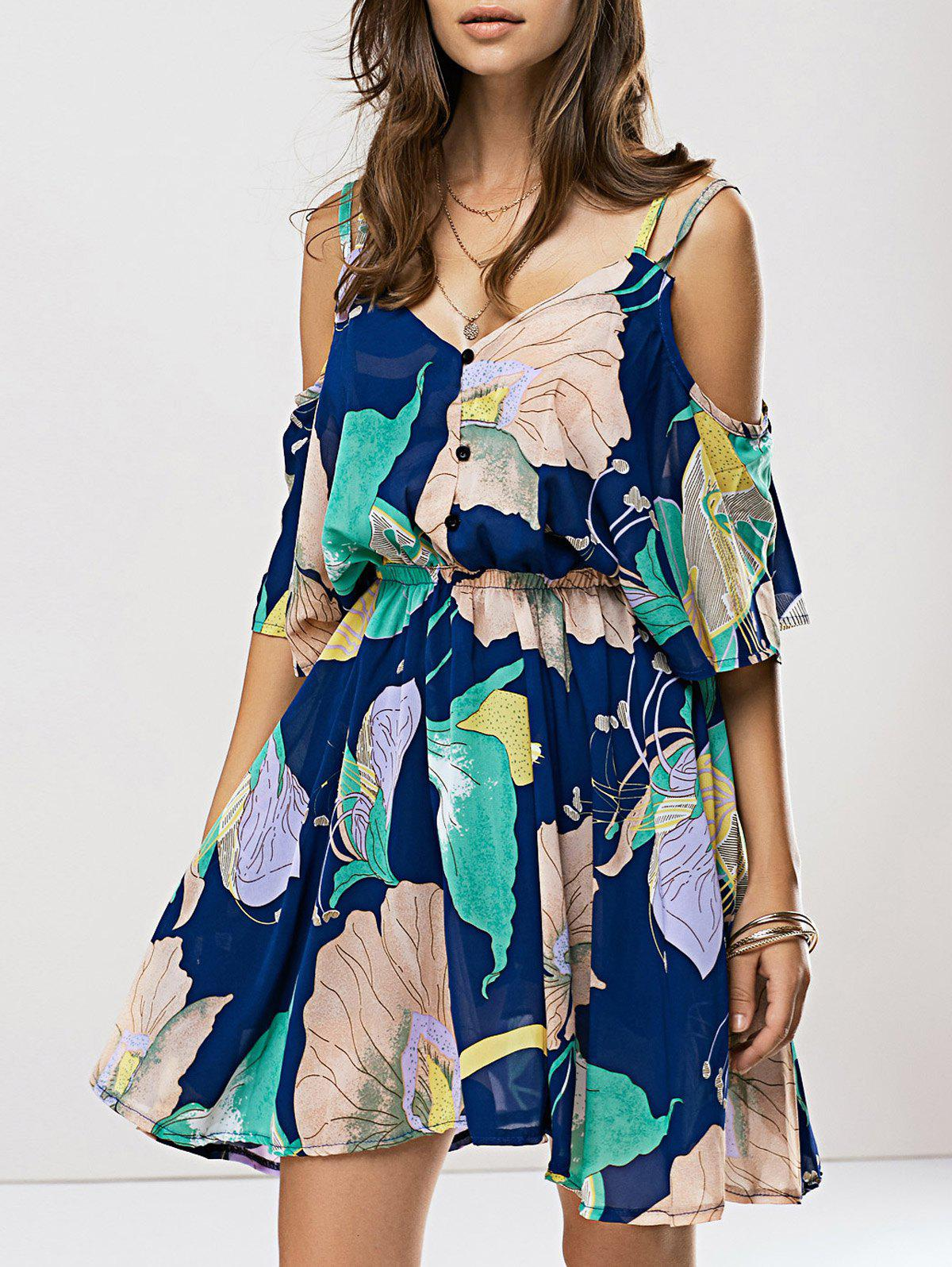 Floral Print Spaghetti Strap Chiffon DressWomen<br><br><br>Size: ONE SIZE(FIT SIZE XS TO M)<br>Color: BLUE