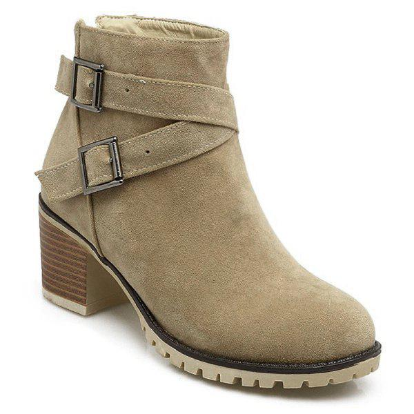 Double Buckles Chunky Heel Suede Ankle Boots - APRICOT 39