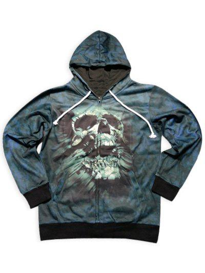 Slimming Stylish Hooded 3D Skull Pattern Long Sleeve Men's Cotton Blend Hoodie - BLACKISH GREEN M