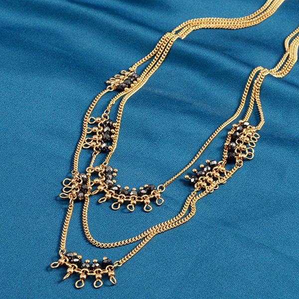 Multilayered Faux Crystal Alloy Beads Sweater Chain - BLACK