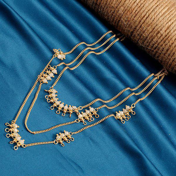Multilayered Faux Crystal Alloy Beads Sweater Chain - MILK WHITE