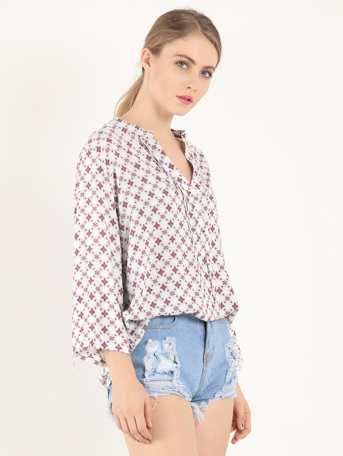 Casual 3/4 Sleeve V Neck Tiny Floral Print Shirt - WHITE S