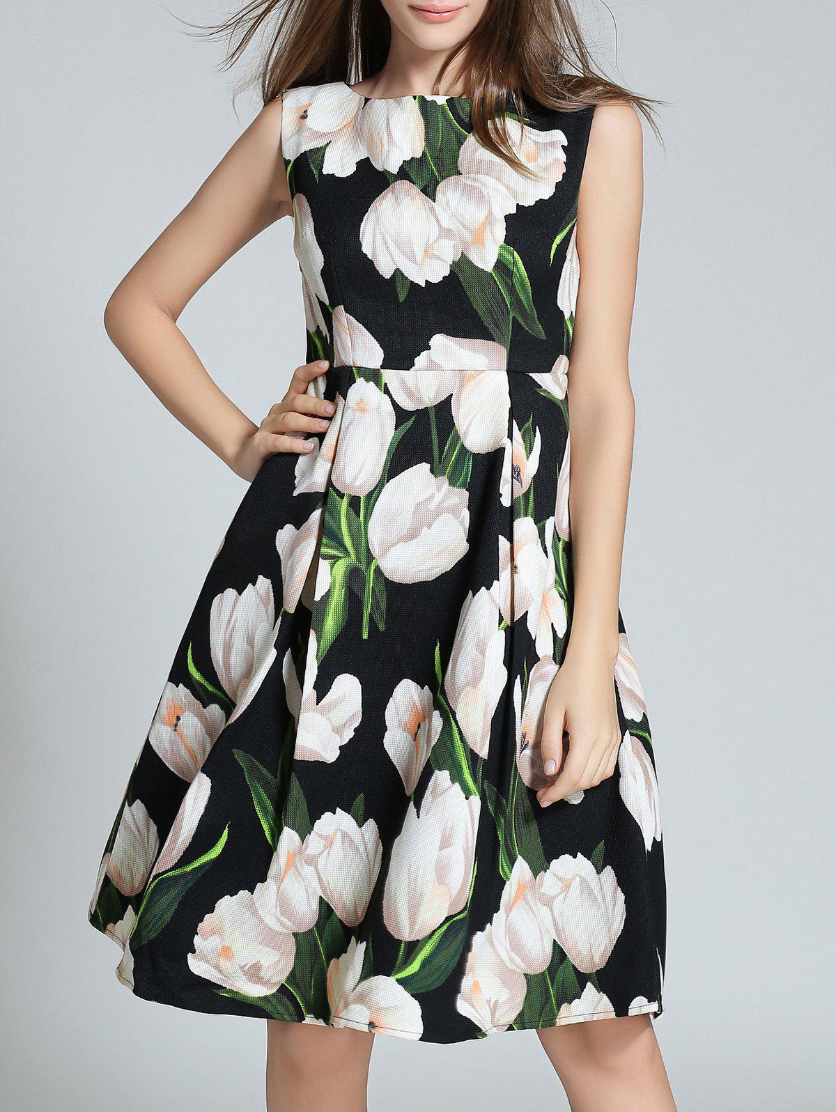 Sleeveless Pocket Design Floral Print Dress - BLACK 2XL