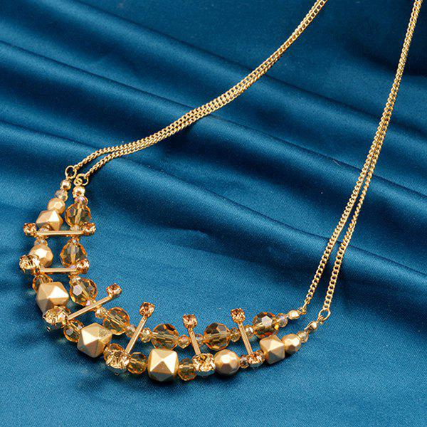 Rhinestone Faux Crystal Layered Beaded Necklace - YELLOW