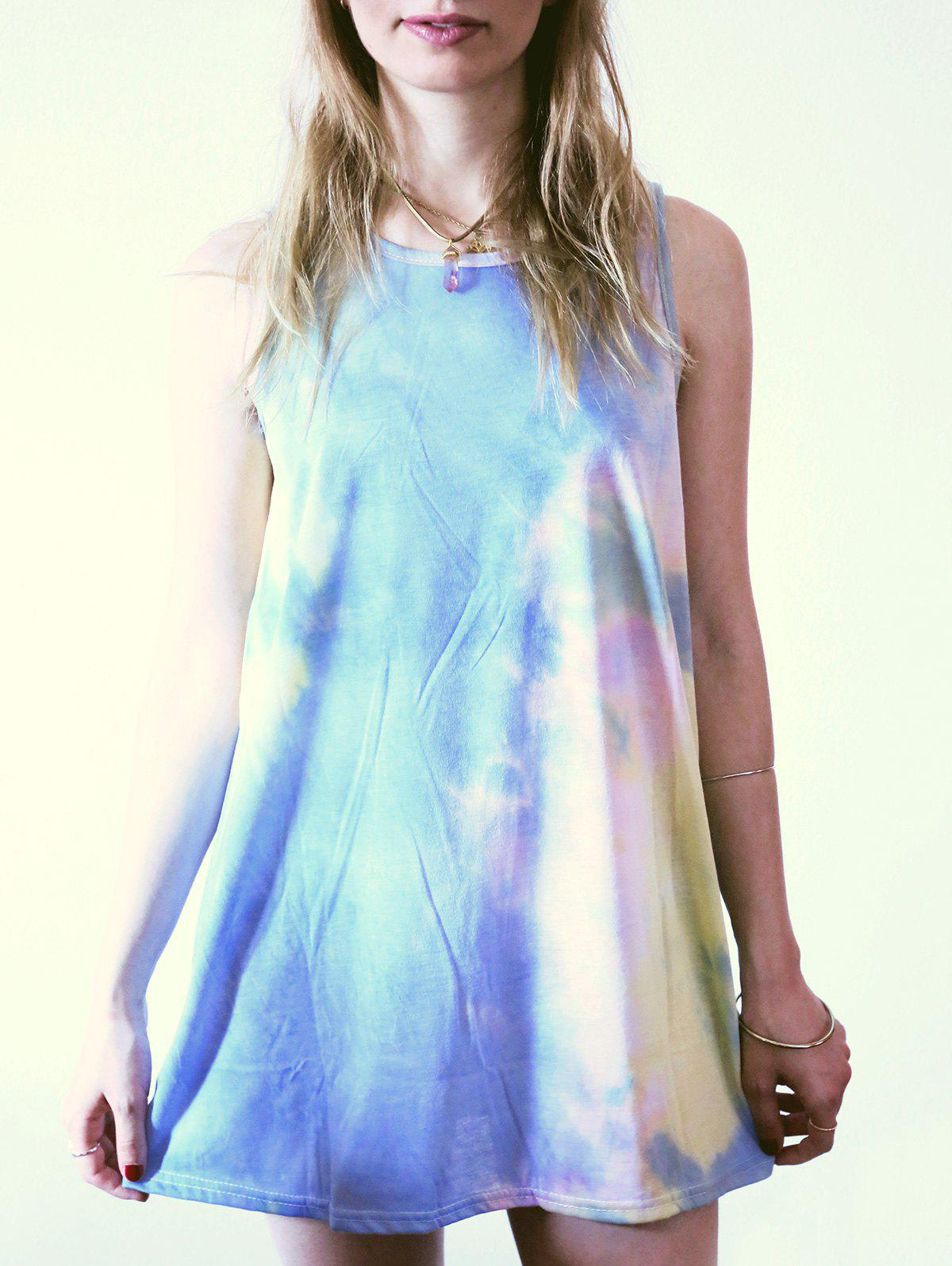 Casual Sleeveless Round Neck Tie Dye Women's Dress - COLORMIX S