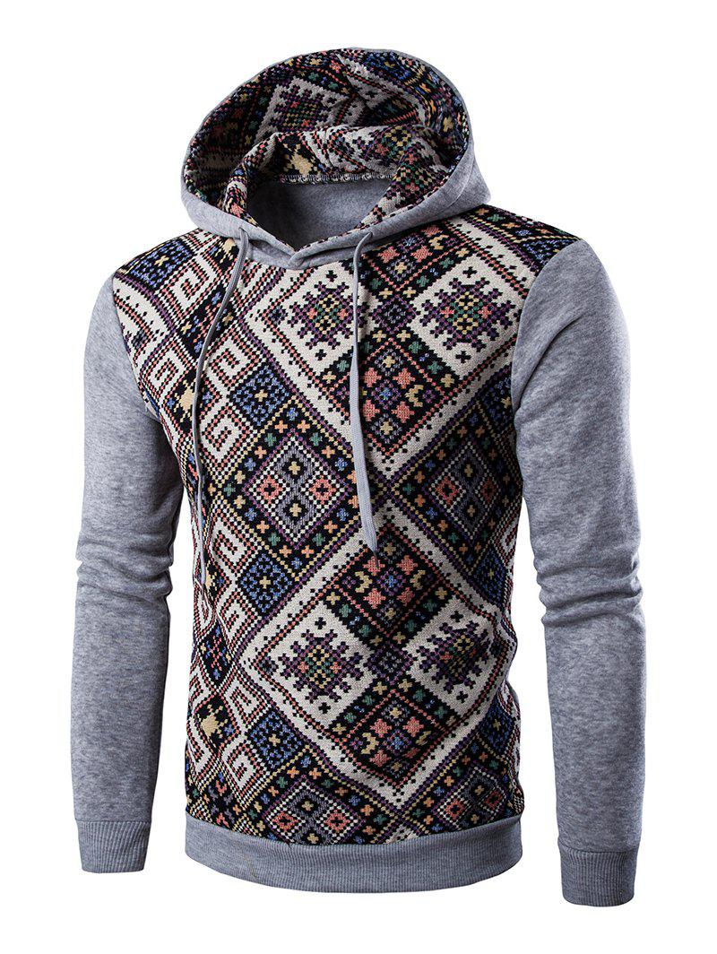 Long Sleeves Geometric Printed Hoodie - LIGHT GRAY 2XL