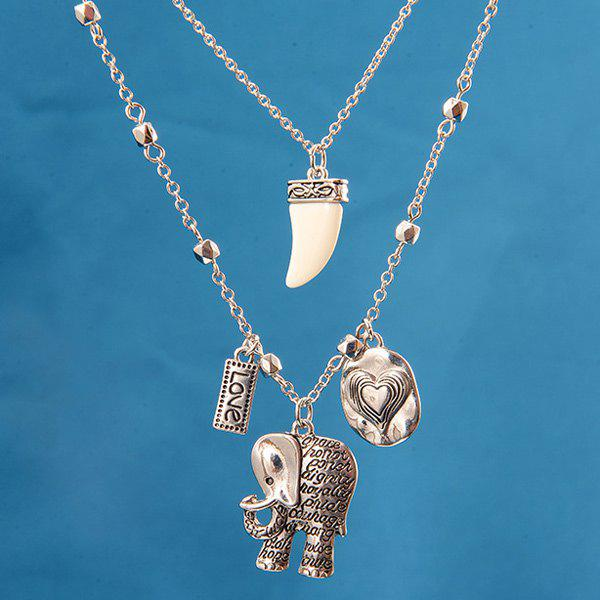 Engraved Heart Love Elephant Pendant Necklace - SILVER